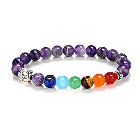 Stillshine - Chakra Yoga Équilibrant des perles de pierre rondes Chaîne de perles naturelles élastiques, Charm Men Women Gift Box (Style 2)