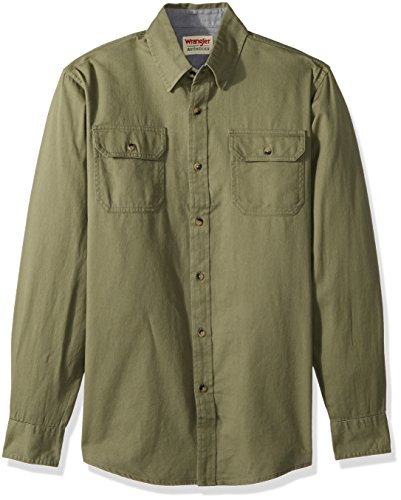 Button-down Woven Dress Shirt (Wrangler Herren Long-Sleeve Classic Woven Shirt Button Down Hemd, Burnt Olive, Klein)