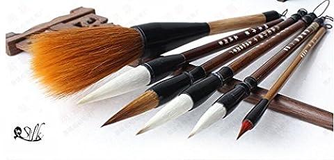 2500 Silk Art China Hu Writing Brush Chinese Calligraphy Kanji Japanese Sumi Drawing Brushes 6 piece/set (weasel hair 1pcs ,wool hair 1 pcs,weasel70%/wool30% L M S SS 4pcs)MBTZ6