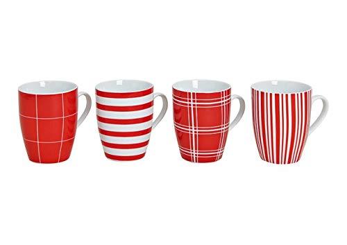 Modernes Porzellan Kaffeetassen 4er Set in 2 Farben - 10cm hoch - Ø 8cm - 300ml - Große Kaffee Tasse in Rot/Weiß gestreift & kariert
