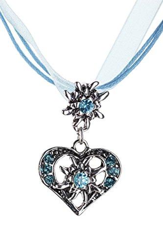 Trachtenkette elegantes Herz mit Strass und Edelweiss in vielen Farben - Anhänger Trachtenschmuck Kette für Dirndl und Lederhose Damen (Hellblau)