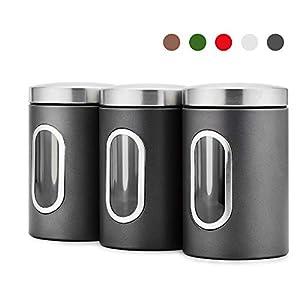 Blusea 3 Stück Vorratsdose Lebensmittel Aufbewahrungsbehälter Edelstahl Vorratsbehälter mit Deckel und Transparentem Sichtfenster für Tee, Getreide, Trockenfrüchten, Tiernahrung 1.5L (Grau)