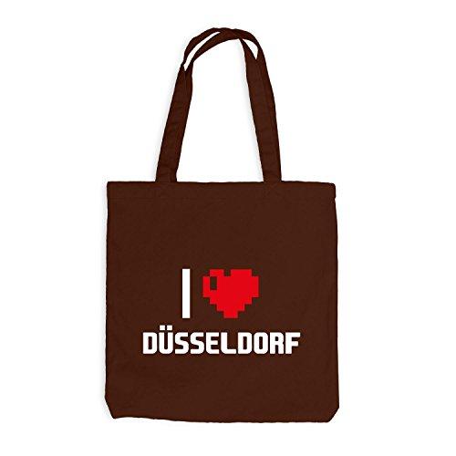 Jutebeutel - I Love Düsseldorf - Deutschland Reisen Herz Heart Pixel Chocolate