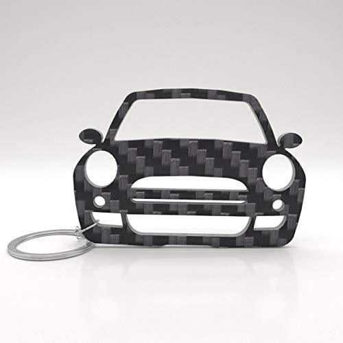ACF Mini Modell: Cooper R53 Schlüssel-Anhänger aus Voll-Carbon, Schlüsselbund-Anhänger und Auto-Glücksbringer aus Kohle-Faser, Geschenk und und Accessoire für Frauen und Männer