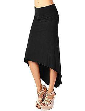 MISSMAO Atractiva Lado Hendidura Piernas Mujeres del Paquete Cadera Alta Cintura Faldas Largas Negro XL