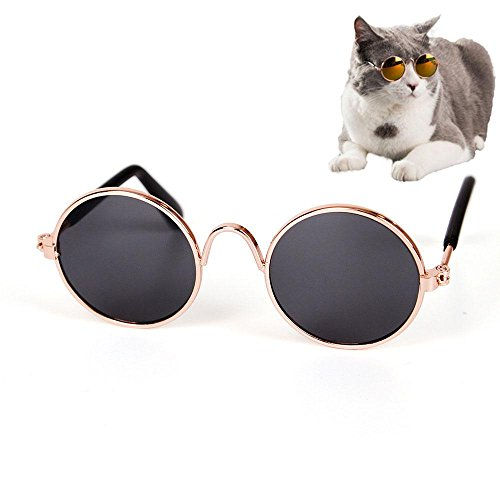 Aolvo Cool Fashion und Funny Pet Sonnenbrille Retro Klassisch Rund Metall Prince Sonnenbrille für Katzen oder kleine Hunde, PUPPY Kitty Foto Requisiten Spielzeug