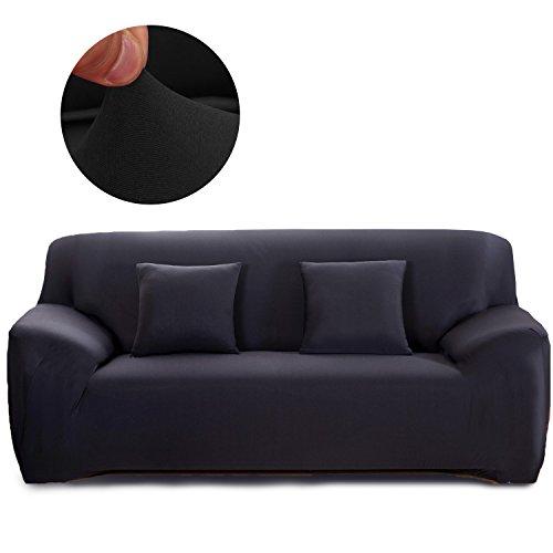 Cornasee Elastischer Sofabezug 2 Sitzer, Sofa-Überwürfe Sofahusse Couchhusse Spannbezug für Sofa mit Armlehne,Schwarz