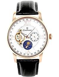 Continuum - C15H14 - Montre Homme - Mouvement Automatique - Affichage Analogique - Cadran Blanc - Bracelet Cuir Noir