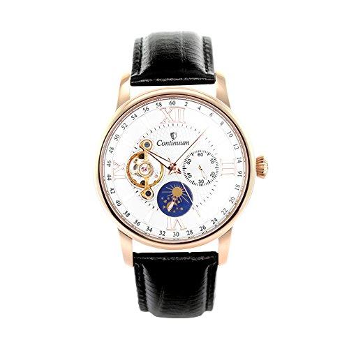 Continuum Herren-Armbanduhr Automatik Analog Leder Schwarz - C15H14