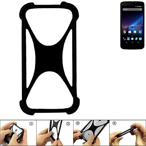 K-S-Trade Handyhülle für Phicomm Clue 2S Schutz Hülle Silikon Bumper Cover Case Silikoncase TPU Softcase Schutzhülle Smartphone Stoßschutz, schwarz (1x)