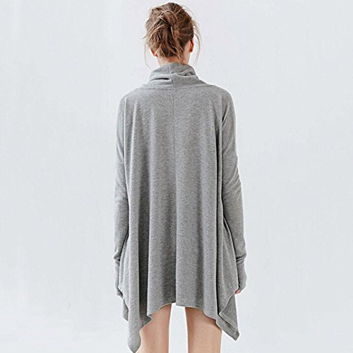 Femmes SleeveTops, OverDose Automne Hiver Irr¨¦gulier ¨¦charpe Collar Blouse T-shirt Batwing Gris