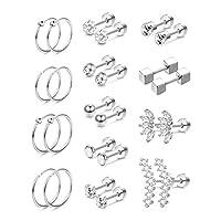 SAILIMUE 13 Pairs Stainless Steel Cartilage Stud Earrings for Men Women Helix Tragus CZ Barbell Conch Piercing Earrings Ear Hoop Earrings