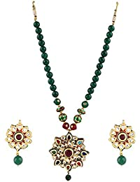 Aradhya Designer Handmade Green Onyx Beads And Multi-coolur Stone Necklace With Earing For Women And Girls