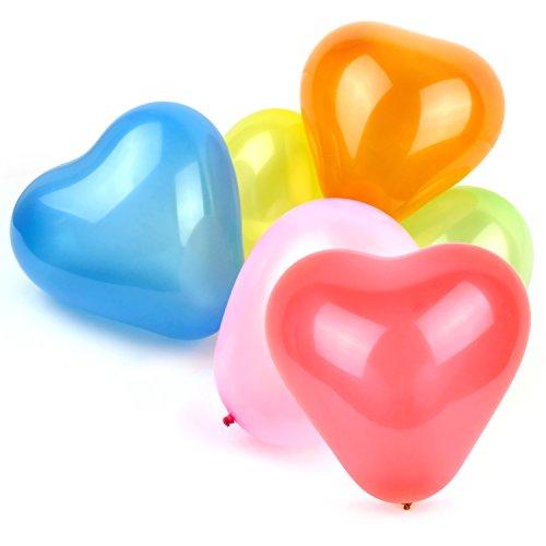 Belmalia 100x Herz Luftballons Mega-Pack Set Rot Gelb Lila Blau Orange Pink Grün Bunt