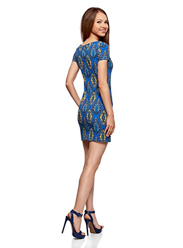 oodji Ultra Damen Enges Jersey-Kleid Blau (7657E)
