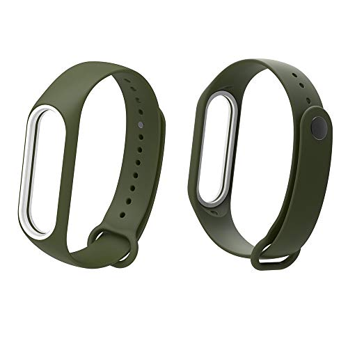 MISSWongg_Correa de reloj - Suave Silicagel - Banda 3 de Xiao Mi - MWBD016 (Ejercito Verde, tamaño Libre)