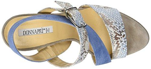 Donna Piu - 52770 Francesca, cinturino posteriore Donna Multicolore (Gozzy Cielo/Camoscio Ciano)
