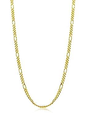 Orvoi Damen Figarokette Halskette 14 Karat (585) GelbGold Figaro diamantiert Goldkette 1,5mm breit 45cm lange