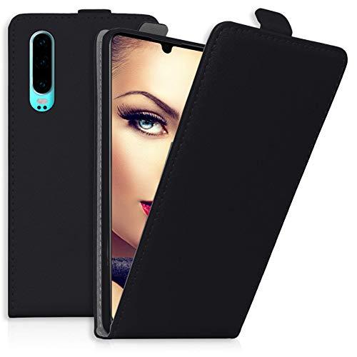 mtb more energy® Flip-Case Tasche für Huawei P30 | Schwarz | Kunstleder | Schutz-Tasche Cover Hülle - Unten Tasche