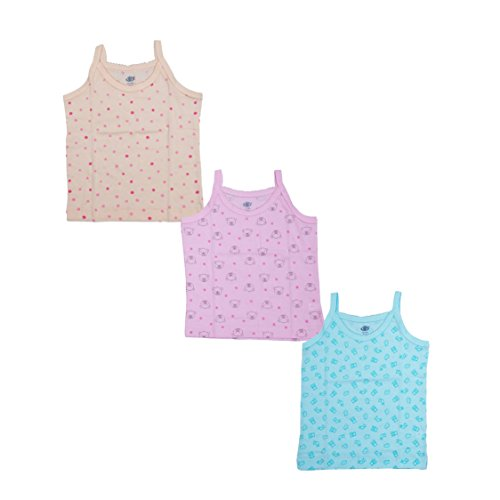 Zero Baby Girls Printed Cotton Cut Sleeve Sleeveles Regular Fit Vest Banyian Slips Undershirt Spaghetti All in OnePack of 3 Pcs Unisex 100% Cotton (1-3 Months, Coloured)