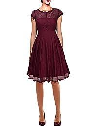 Dolamen Mujer Cordón Vestidos, Collar redondo Vintage y estilo retro, A-Line Swing Rodilla-largo, Vestido corto del cordón de la manga, perfecto para el partido y la boda