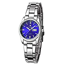 Women Watches, Female Watches,Ladies Watches,Stainless Steel Bracelet,Watches,Business Watches, Ladies Fashion Casual Watch,Quartz Watches Wrist New Brand Date Day Clock (Blue)
