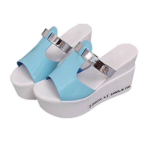 Omiky® Frauen Komfort High Heels Pantoffeln Sandalen Plattform Shopping Flip Flop Blau