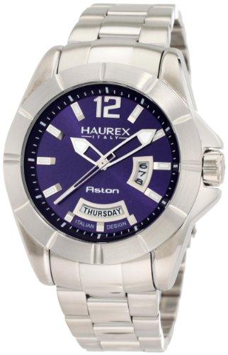Haurex Italy Men's 7A366UB1 Aston Blue Dial Day and Date Steel Bracelet Sport Watch