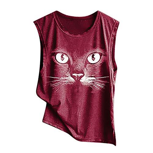 Wawer Damen Top  Mode für Frauen O-Ansatz Cat Druck Weste Bluse losen Hemd Tops, Tank Tops Weste Flacher Kragen Vier Farben optional - Druck-blouson