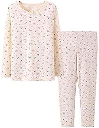 Hzjundasi 2 piezas Niños Chicas Manga larga Cálido Conjunto de pijamas Casual Confortable Loungewear Kids Algodón Ropa Prendas de dormir Ropa de dormir