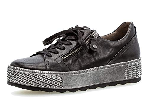 Gabor Damen Low-Top Sneaker 36.538, Frauen Sneaker,Halbschuh,Schnürschuh,Strassenschuh,Business,Freizeit,schwarz,39 EU / 6 UK