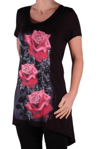 EyeCatch Plus - T Shirt manches courtes motif roses - Femme - Plusieurs Tailles et Couleurs Noir