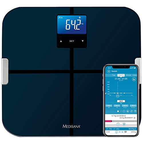 Medisana BS 440 Connect digitale Körperanalysewaage bis 180 kg -  Personenwaage zur Messung von Körperfett, Körperwasser, Muskelmasse und Knochengewicht - Körperfettwaage mit Bluetooth App - 40423
