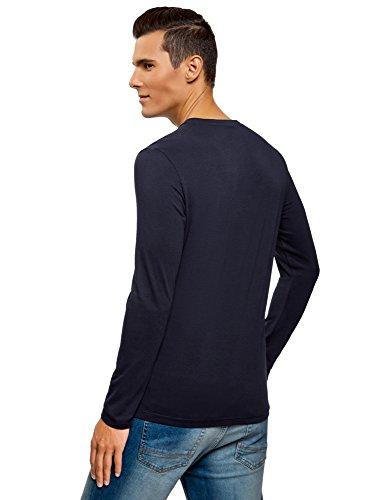 oodji Ultra Herren Tagless Langarmshirt (2er-Pack) Blau (7901N)
