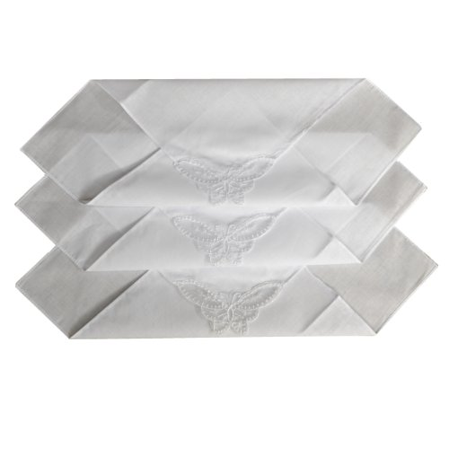12 Donnas Fazzoletto Bianco Normale Con Un Angolo Di Pizzo Farfalla