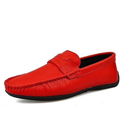 BBTK Penny Loafer Für Männer Weiche Schuhe Boot Mokassins Slip On Style Mikrofaser Leder Einfarbig Weich Pflegeleicht Leicht Niedrig Atmungsaktiv (Color : Rot, Größe : 42 EU) Komfort-penny Loafer