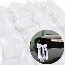CLE DE TOUS - Cinta Lazo de Raso para Boda Fiesta Ribbon de Wedding Party Regalo Coche 10pcs Color Blanco
