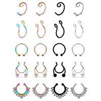 SCERRING Fake Septum Nose Hoop Rings Stainless Steel Faux Lip Ear Nose Septum Ring Non Piercing Clip On Nose Hoop Rings Body Piercing Jewelry 20PCS