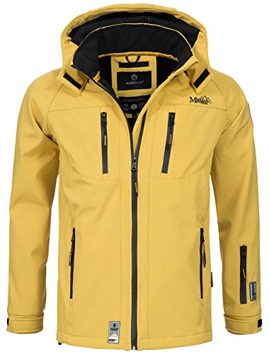 Marikoo Herren Softshell Funktions Outdoor Ski Regen Winter Jacke Sport B630 [B630-Noa-Gelb-Gr.M]