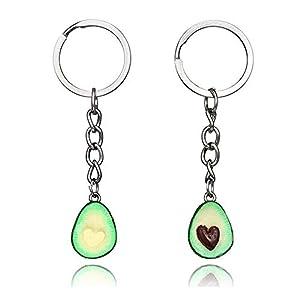 Grüner Stilvolle Herz Handgemachte Avocado-Frucht Stereo weiche Keramik-Anhänger-Halskette Schlüsselanhänger Schlüsselring-Ohrring-Neuheit-Schmuck-Set