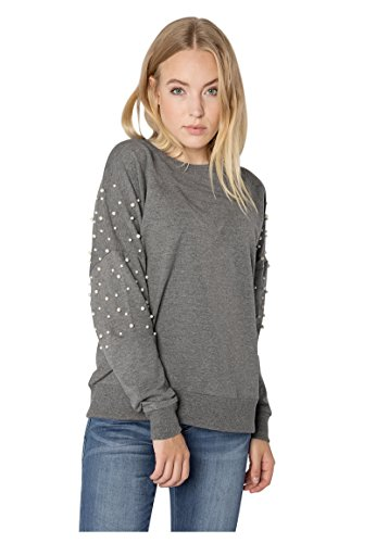 Rock Angel Damen Perlen Sweatshirt SUE I Eleganter Oversize Sweat-Pullover in Grau & Rosé middle-grey S