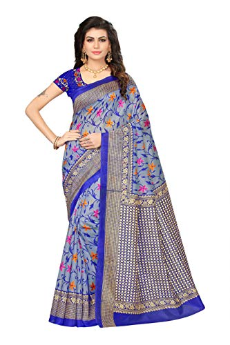 OOMPH! Art Silk Saree With Blouse Piece (_Blue_Free Size)
