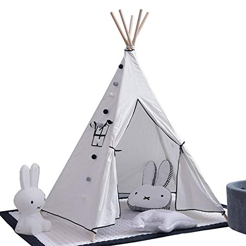 SUWIND Teepee Indian Canvas Kids Large Outdoor/Indoor Portable Wigwam Kids Play House with Window Childrens Playhouse Play Tent for Boys and Girls (Boy Playhouse Outdoor)