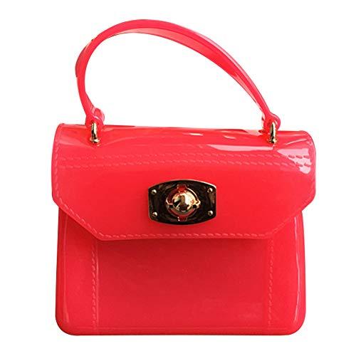 Happy Cherry Kinder Mädchen Kastenförmige Handtasche Umhängetasche Mode Frauen Schultertasche aus PVC Umhängetasche Mit Schultergurt Taschen Kindertasche Girls Bag in Rose