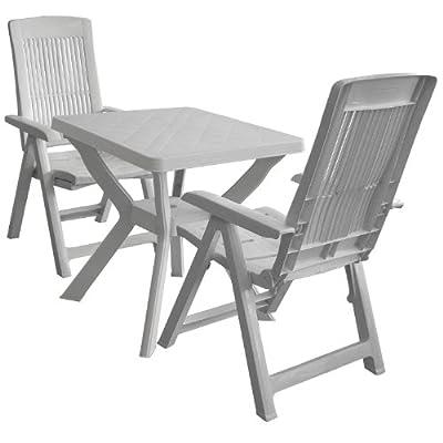 3tlg. Kunststoff Garnitur Gartentisch 70x70cm Weiss + Klappstuhl Gartenstuhl 5 Positionen Weiss Balkonmöbel Sitzgruppe Sitzgarnitur