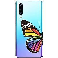 Suhctup Compatible con Huawei Honor 8X Funda de Transparente Silicona con Dibujos Mariposa Lindo Diseño Patrón Cárcasa Ultrafina Suave TPU Antigolpes Bumper Protección Caso-A8