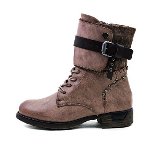 Marimo Damen Nieten Stiefel Biker Boots Schnür Stiefeletten in Lederoptik Khaki