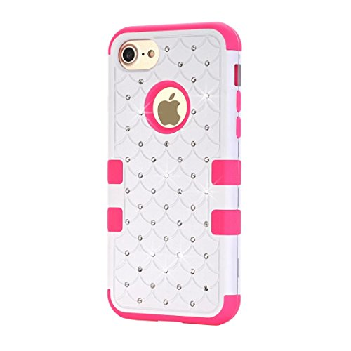 "iPhone 7 Hülle,Lantier Eleganter Luxus verzierte Bling Strass Design 3 Stück Art Dual Layer Hybrid Stoß harten Autoschutzhülle für iPhone 7 4.7"" 2016 Schwarz+Pink Cute Rhinestone White+Hot Pink"