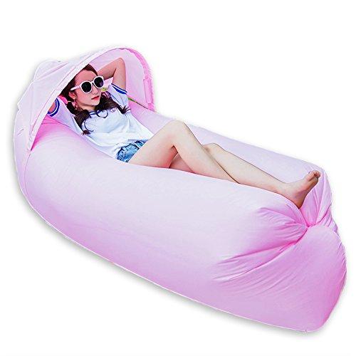 0,9kg tragbar Schnell aufblasbar Air Bett/Sofa/Boot für Outdoor Wandern Camping Lounge Strand und Garten Freizeit Schlafsäcke Camping Bett mit Sonnenschirm, rose