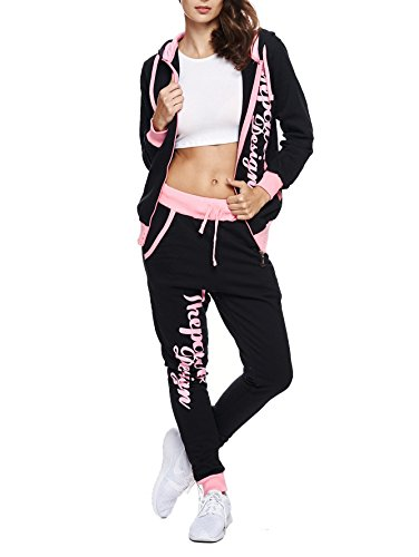 Violento Kinder Mädchen Jogginganzug Jogging Hose Jacke Sportanzug Sporthose Fitness Hoodie schwarz/rosa XXS 152